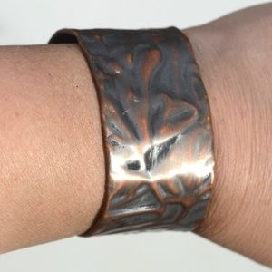 Floral Embossed Cuff Copper Handmade Solid Copper